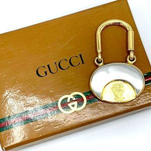 GUCCI Vintage Silver & Gold Keychain in orig. box